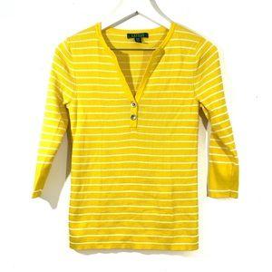 Lauren Ralph Lauren Yellow Striped Pullover Top